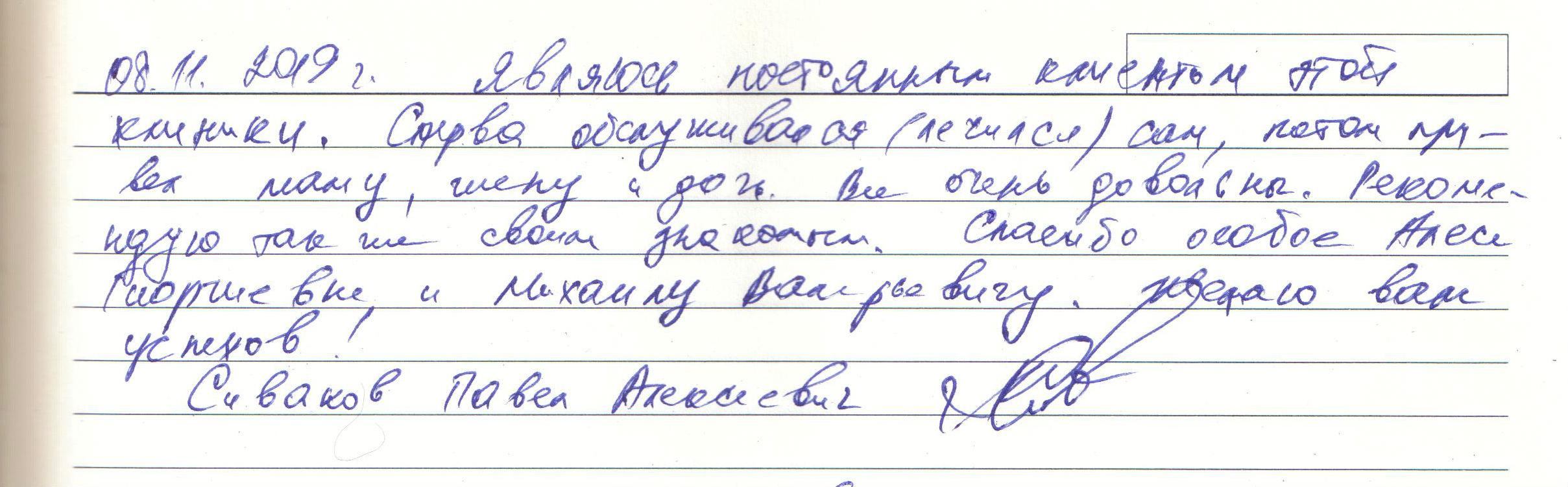 Особое спасибо врачам Алесе Георгиевне, Михаилу Валерьевичу